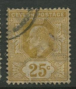 STAMP STATION PERTH: Ceylon #186 Used  1904  Single 25c Stamp