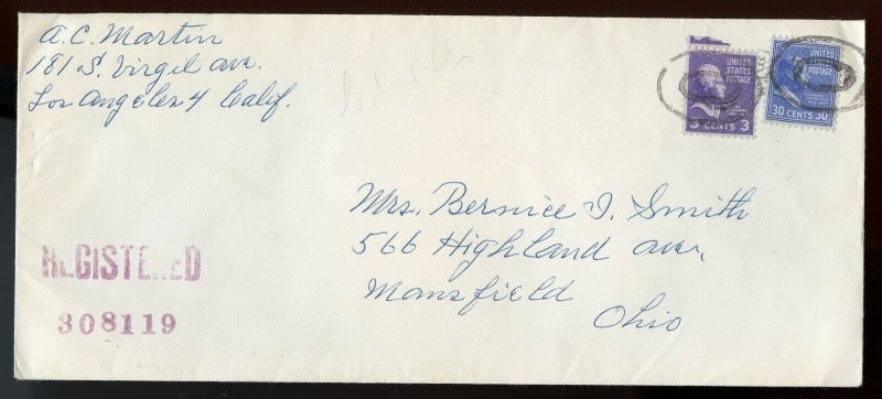 U.S. Scott 830 and 807 Prexies on 1952 Registered Cover