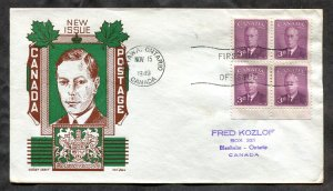 d243 - Canada 1949 FDC Cover - KGVI Birthday - Cachet by Ken Boll