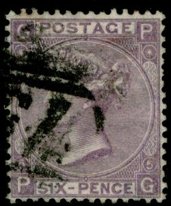 SG97, 6d lilac PLATE 5, USED. Cat £100. PG