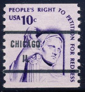 Chicago IL, 1617-81 Bureau Precancel, 10¢ coil Justice