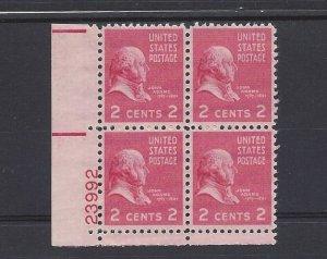 United States, 806, John Adams Plate Block of 4, 23992, LL, MNH