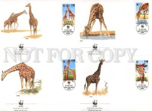 132594 WWF KENYA Giraffe old FDC 4 first day covers 1989 year