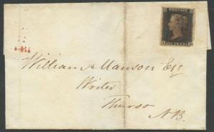 GB #1 ON FOLDED LETTER W/ RED CANCEL 11/23/1840 MINOR EDGE FLAWS BS2640