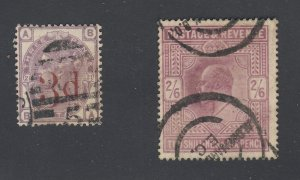 2x Great Britain Used Stamps #94-3d Red OP & #139-2'6p Guide Value = $165.00