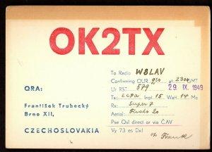 QSL QSO RADIO CARD OK2TX,Frantisek Trubecky,1949, Czechoslovakia (Q2974)