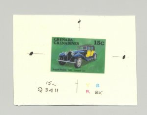 Grenada Grenadines #878  Bugatti, Automobiles, 1v. imperf chromalin proof