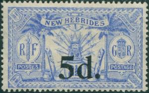 New Hebrides 1924 SG42 5d on 2½d blue Weapons Idols MNG
