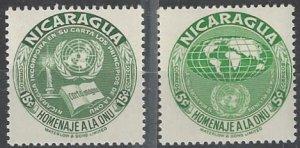 Nicaragua  752-3  MNH  United Nations 1954