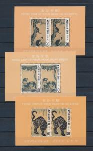 [35780] Korea 1970 Ancient Fine art Perforated 3 Souvenir Sheets MNH