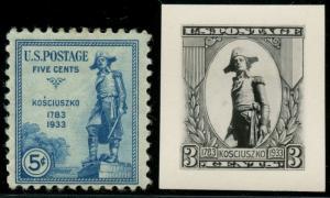#734E KOSCIUZKO 1933 5¢ ISSUE B.E.P. PHOTO ESSAY WITH FINISHED STAMP BT8115