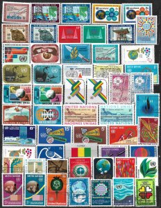 COLLECTION LOT OF 56 UNITED NATIONS 1968+ STAMPS
