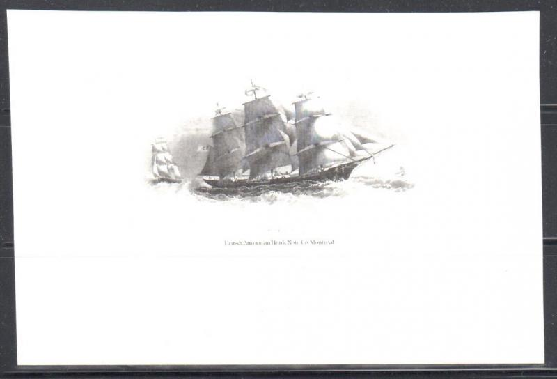 British American Bank Note Co. Montreal Boat Design #2 Proof ECV$500.00 +++