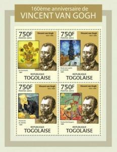 Togo - Vincent Van Gogh, Art - 4 Stamp Sheet - 20H-615