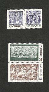 SWEDEN- MNH-TWO PAIRS-GOTLAND STONEMASONS-1971.