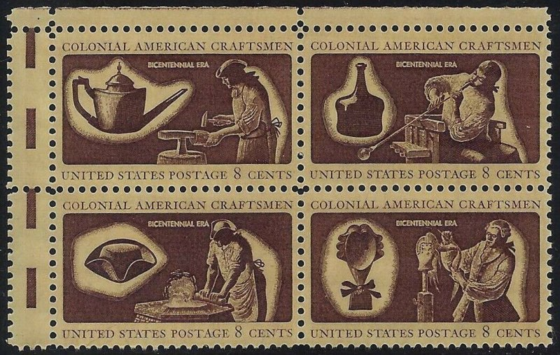 1456-1459a Miscut Gutter Snipe Error / EFO Block of 4 Colonial Craftsmen MNH
