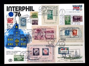 Extra Large Combo Cover Interphil 76 with Multi Stamps and Dates on Front & Back