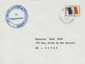 France Franchise Militaire Flag Military Stamp 1966 Nouatre, Indre-et-Loire t...