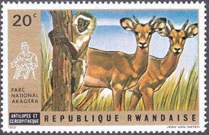 Rwanda # 444 mnh ~ 20¢ Antelope and Guenon