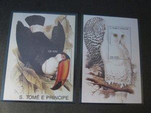 St. Thomas & Prince Islands 1991 Sc 1005-6 Bird set MNH