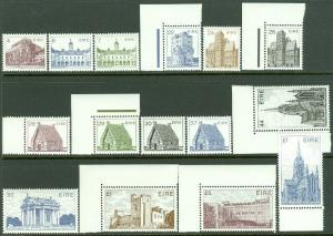 EDW1949SELL : IRELAND 1982-90 Sc #540//644. 15 Diff. values Cplt VF MNH Cat $54.