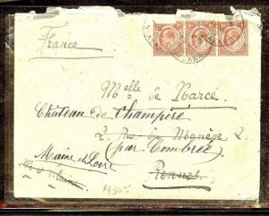 NYASALAND (P1210B) KE 1D STRIP OF 3 1910  COVER TO FRANCE