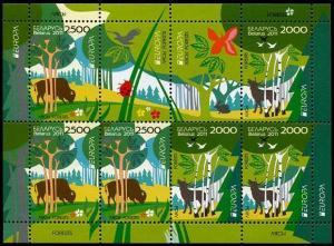 HERRICKSTAMP BELARUS Sc.# 767a Europa 2011 Forest Stamp S/S