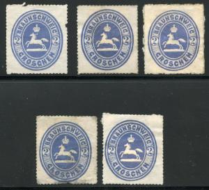 GERMANY STATES BRUNSWICK SCOTT# 25 MICHEL# 19 MINT NO GUM LOT OF 5 AS SHOWN