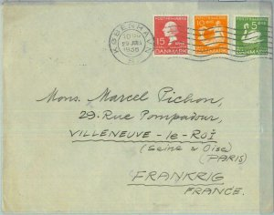 85086 - DENMARK - Postal History -  COVER to FRANCE 1936 - Birds Mermaids