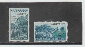Trieste  Scott#  204-205  MH  (1954 Overprinted)
