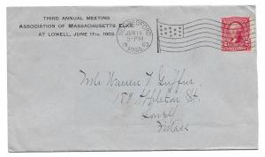 New Bedford to Lowell, Massachusetts 1903 Cover, Scott 301, Elks Corner Card