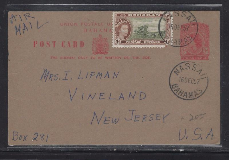 BAHAMAS PSC  (P1108B) 1957  QEII 3D UPRATED 1D TO USA WITH LONG MSG