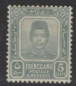 MALAYA TRENGGANU SG6 1910 5c GREY MTD MINT