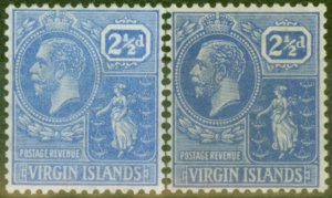 British Virgin Is 1922-27 2 1/2d Pale & Brt Blue SG93 & 95 Fine Lightly Mtd Mint
