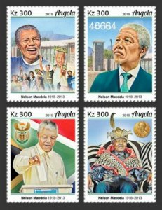 Angola - 2019 Nelson Mandela Anniversary - Set of 4 Stamps - ANG190125a