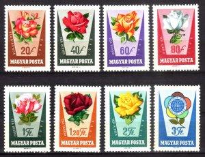 1962, Hungary, Roses set, MNH, Sc 1465-72