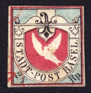 Switzerland excessively well done counterfeit Scott 3L1 Dove of Basel VF used.