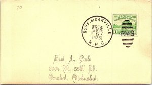 1935 Norf. & Danville R.P.O. Railway Post Office on Card #169
