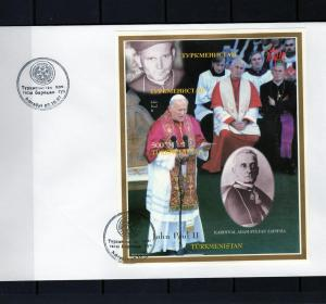 Turkmenistan Pope John Paul II & Sapieha s/s Imperforated in official FDC