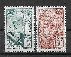 French Morocco 1953, Mogador Fortress, Army Aid, Scott # 291-292,VF MNH**OG