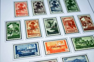 COLOR PRINTED CAPE JUBY 1916-1948 STAMP ALBUM PAGES (13 illustrated pages)