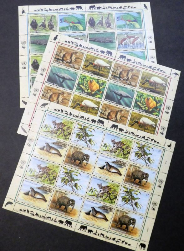 EDW1949SELL : UNITED NATIONS 1993-1996 Wildlife Cplt sheets from all 3 Offices.