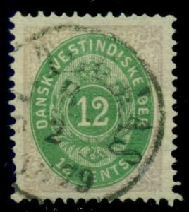 DANISH WEST INDIES #11a (11a) 12¢ bicolor, pr. I, used w/1879 cancel Facit $300