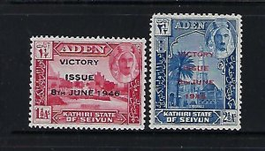 ADEN -SEIYUN- SCOTT #12-13 1946 VICTORY OVERPRINTS -MINT LIGHT HINGED
