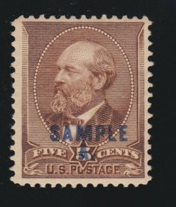 US 205SL 5c Garfield Sample A. Specimen Mint VF OG H SCV $75