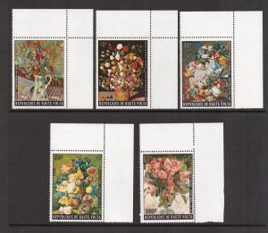 Burkina Faso  #342-345,C201  MNH 1974  flower paintings