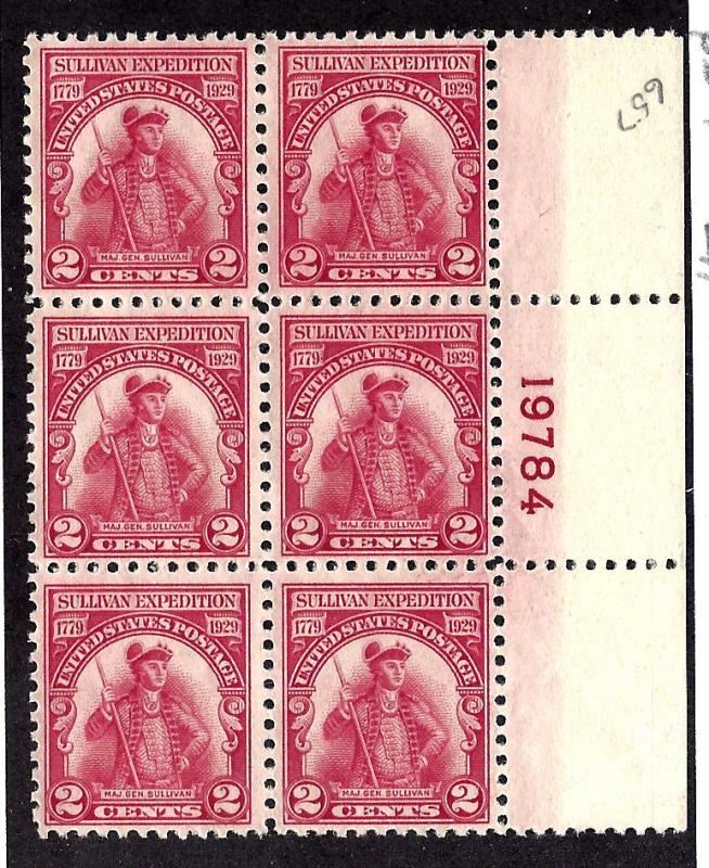 657 Mint,OG,LH... Plate Block of 6... SCV $17.50