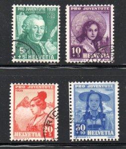 Switzerland Sc B91-94 1938  Pro Juventute Girls stamp set used