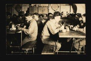 German Battleship SMS Braunschweig Sailors Eating BW Picture Post Card Unused F