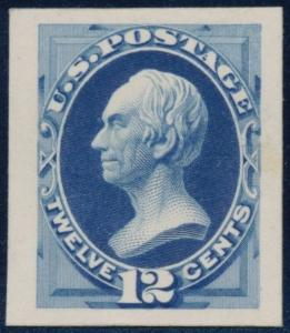 #151-E9 DIE ESSAY ON INDIA, ON CARD - BLUE - CV $650.00 BR50